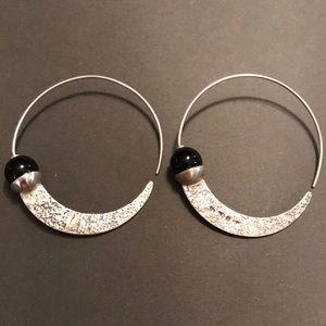 SILPADA .925 Sterling and Onyx Hoop Earrings